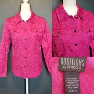 CHICO'S Hot pink floral embossed jacket